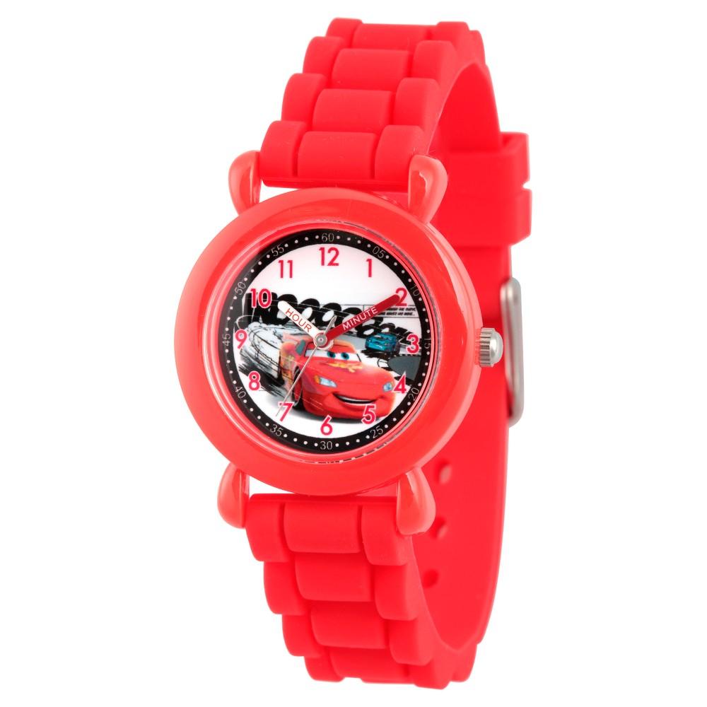Image of Boys' Disney Cars Lightning McQueen Red Plastic Time Teacher Watch - Red, Boy's