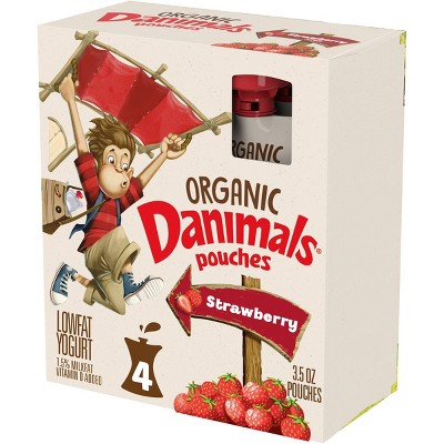 Danimals Organic Strawberry Kids' Yogurt - 4pk/3.5oz Pouches