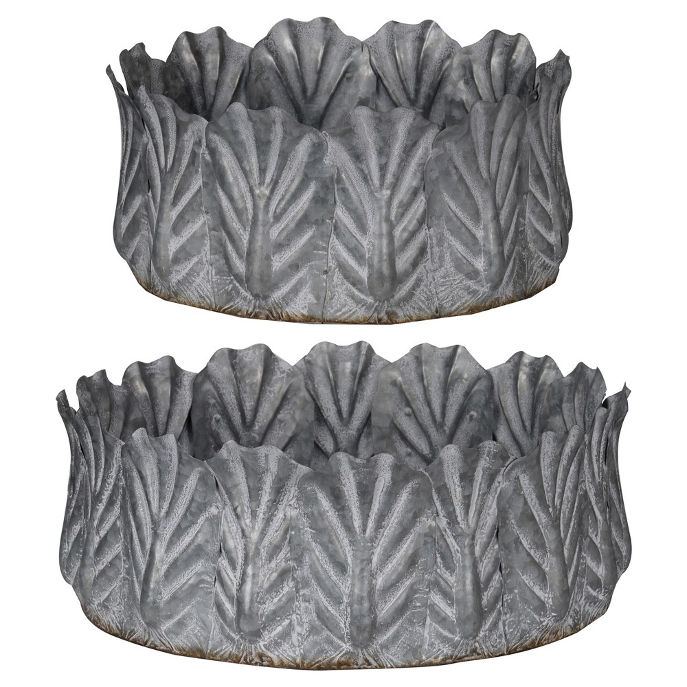 Acoma Galvanized Metal Bowls Silver 2pk - A&b Home, Silver Gray
