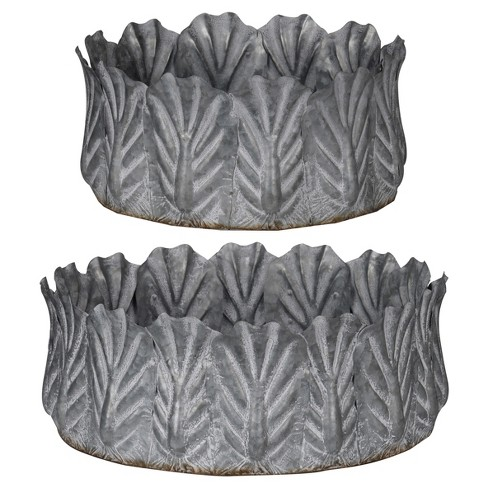 Acoma Galvanized Metal Bowls Silver 2pk - A&B Home - image 1 of 1