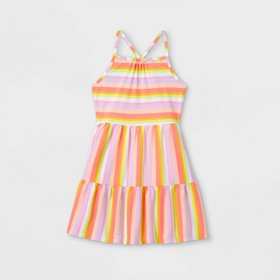 Girls' Printed Tiered Knit Sleeveless Dress - Cat & Jack™ Orange/Pink