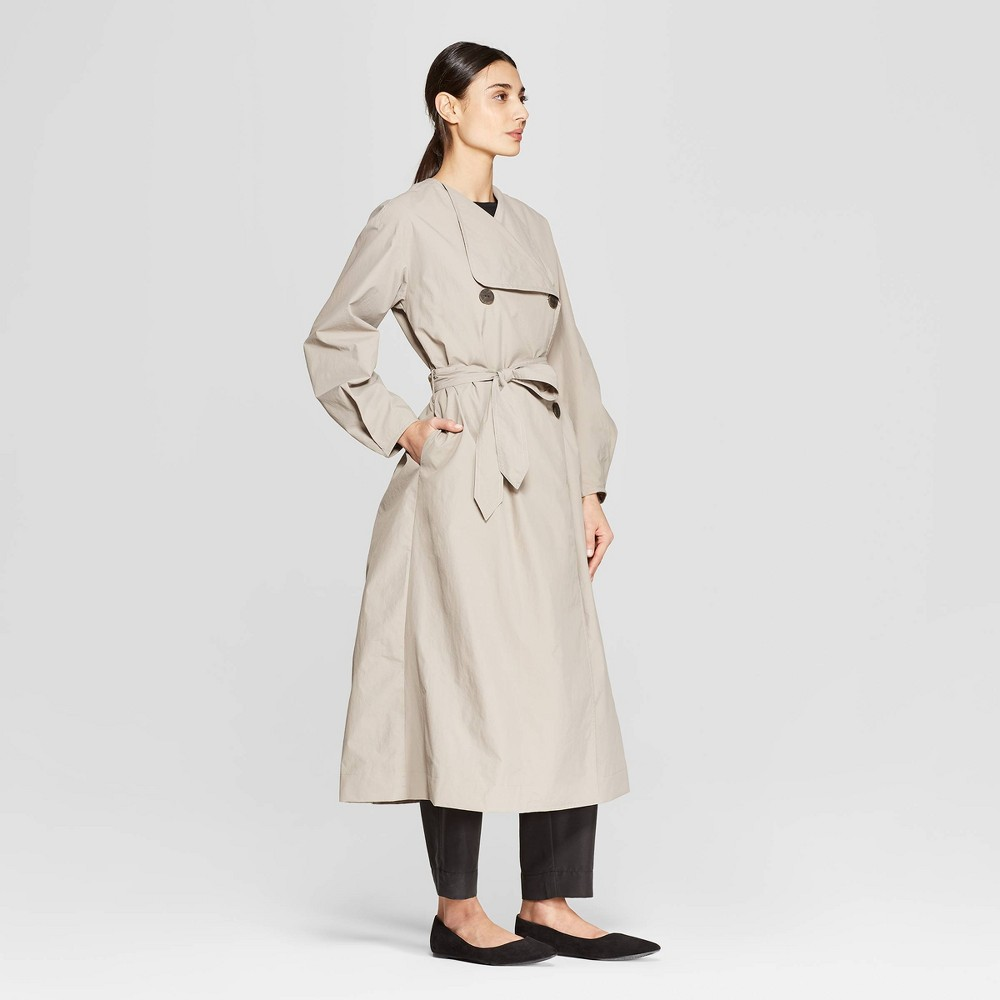Women's Balloon Sleeve Collared Front Open Trench Coat - Prologue Taupe XL, Gray