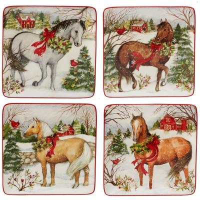 8.5  4pk Christmas On The Farm Square Ceramic Dessert Plates - Certified International