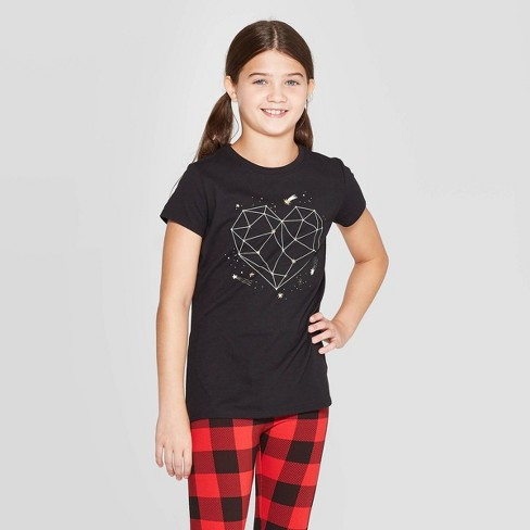 Girls' Short Sleeve Constellation Heart Graphic T-Shirt - Cat & Jack™ Black - image 1 of 3