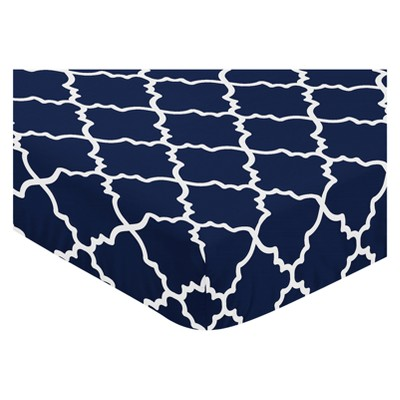 Sweet Jojo Designs Fitted Crib Sheet - Trellis - Navy Blue
