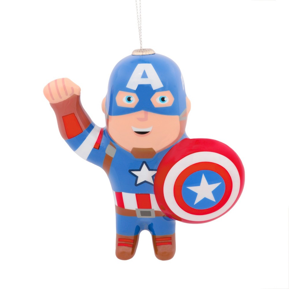 Image of Hallmark Marvel Captain America Decoupage Christmas Ornament, Multi-Colored