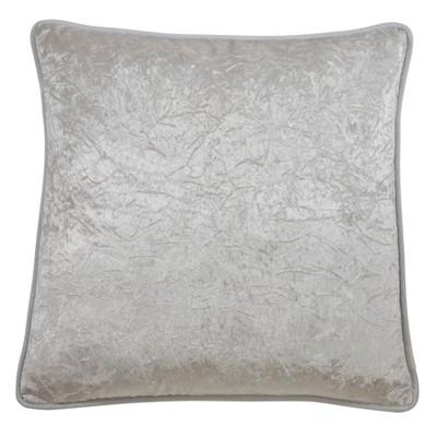 "22"" Crushed Velvet Pillow Cover Ivory - SARO Lifestyle"