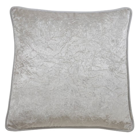 """22"""" Crushed Velvet Pillow Cover Ivory - SARO Lifestyle - image 1 of 3"""