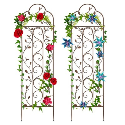 Best Choice Products Set of Two 60x15in Iron Arched Garden Trellis Fence Panel w/ Branches, Birds for Climbing Plants