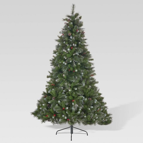 7.5ft Mixed Spruce Unlit Hinged Full Artificial Christmas Tree with Glitter Branches - Christopher Knight Home - image 1 of 4