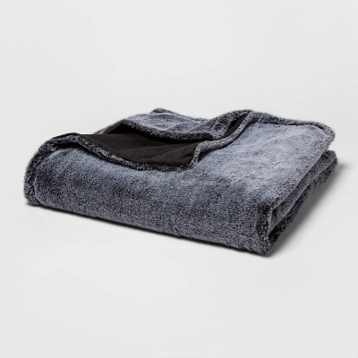 "55"" x 80"" Tipped Faux Fur Bed Throw Gray - Threshold™"