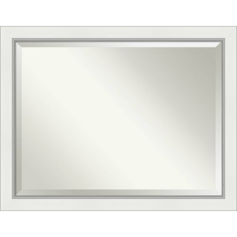 45 X 35 Eva White Silver Framed Bathroom Vanity Wall Mirror Amanti Art Target