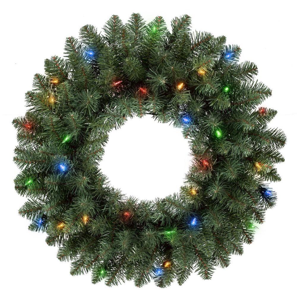 "Image of ""Philips 28"""" Christmas Prelit Artificial Pine Christmas Wreath Bicolor LED Lights, Green"""