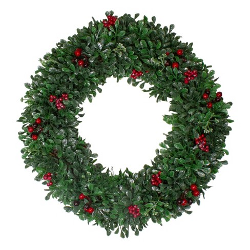 "Northlight 20"" Unlit Boxwood, Holly and Cranberry Artificial Christmas Wreath - image 1 of 3"