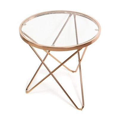 Danya B. Tetra Clear Glass top Round End Table with Metal Frame - Gold