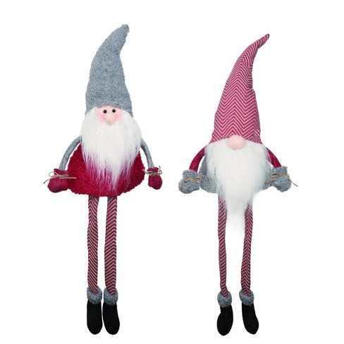 Transpac Fabric 15 In Gray Christmas Plush Gnome Santa Shelf Sitter Set Of 2 Target