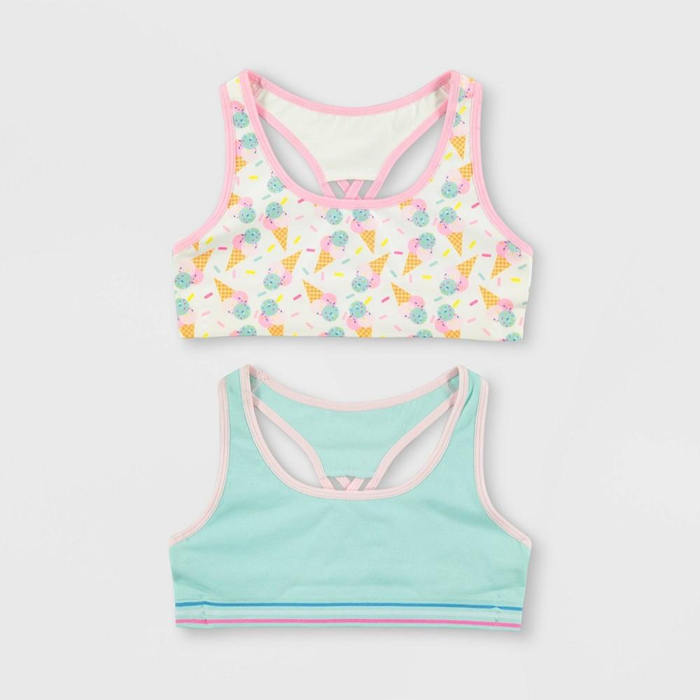 Girls' Mush Ice Cream 2pk Seamless Sports Bra - M, Multicolored