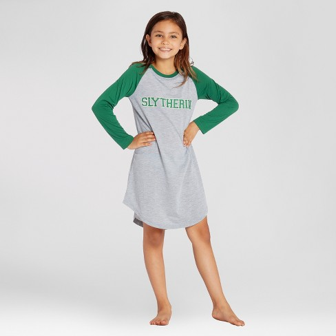 d3f87df9eb8e Girls  Harry Potter Slytherin Crest Nightgown - Green Gray   Target
