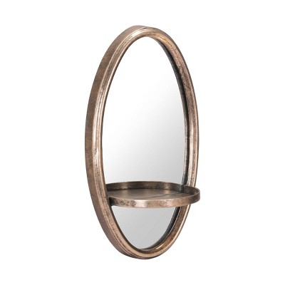 "ZM Home 12"" Luxe Oval Mirrored Shelf Gold"