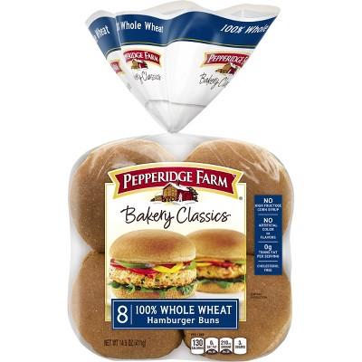 Pepperidge Farm Bakery Classics 100% Whole Wheat Hamburger Buns - 14.5oz/8ct