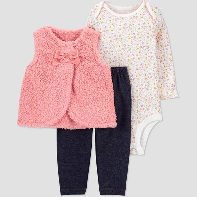 Baby Girls' Sherpa Top & Bottom Set - Just One You® made by carter's Pink 6M