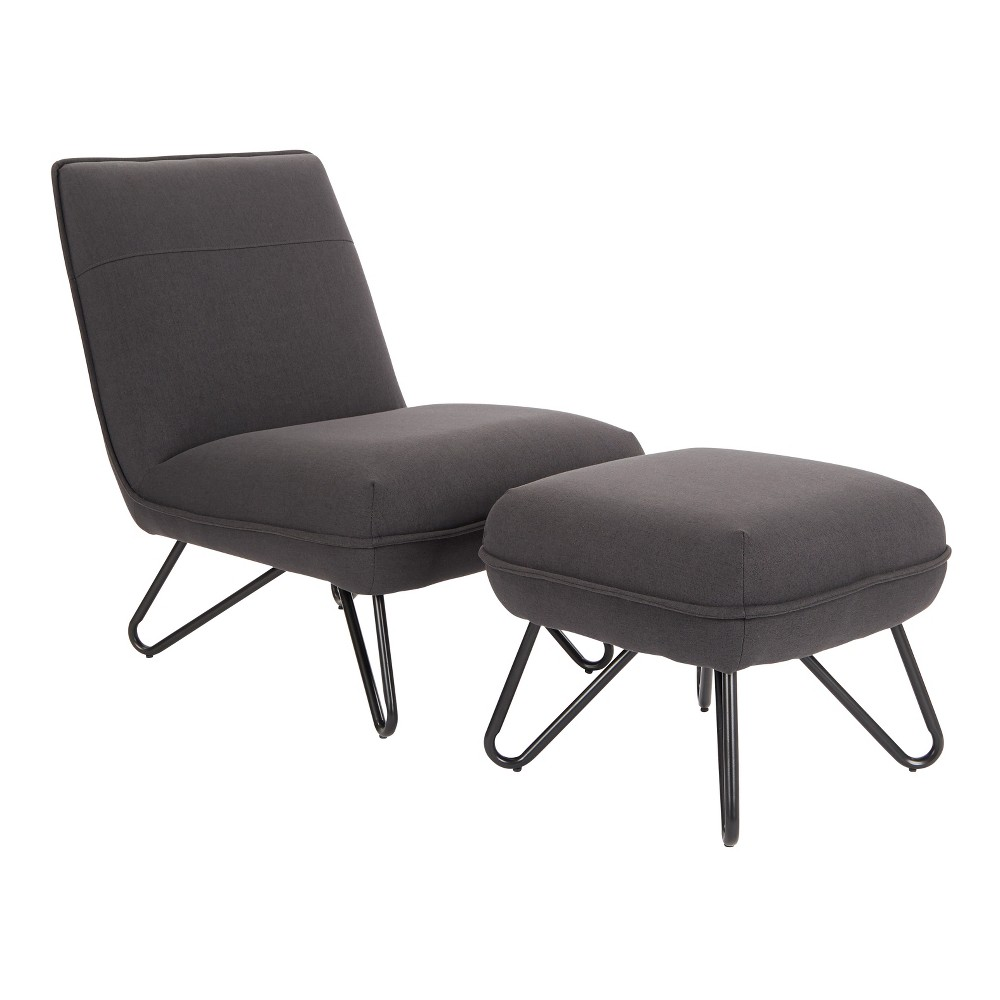 Cortina Chair and Ottoman Black - Ave Six