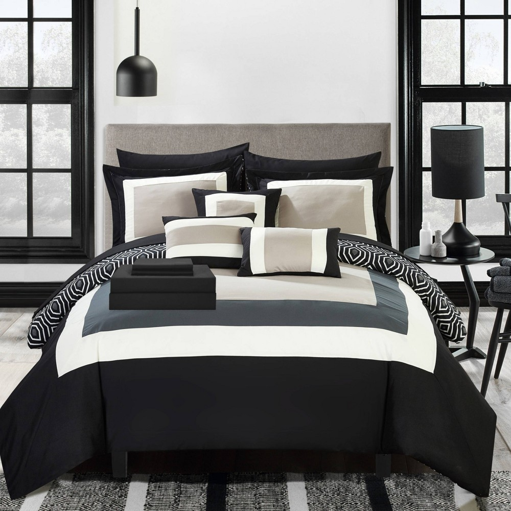 Queen 10pc Heldin Bed In A Bag Comforter Set Black Chic Home Design