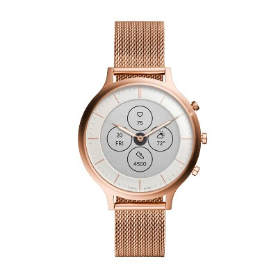 Fossil Hybrid Smartwatch HR Charter 42mm - Rose Gold-Tone Stainless Steel Mesh