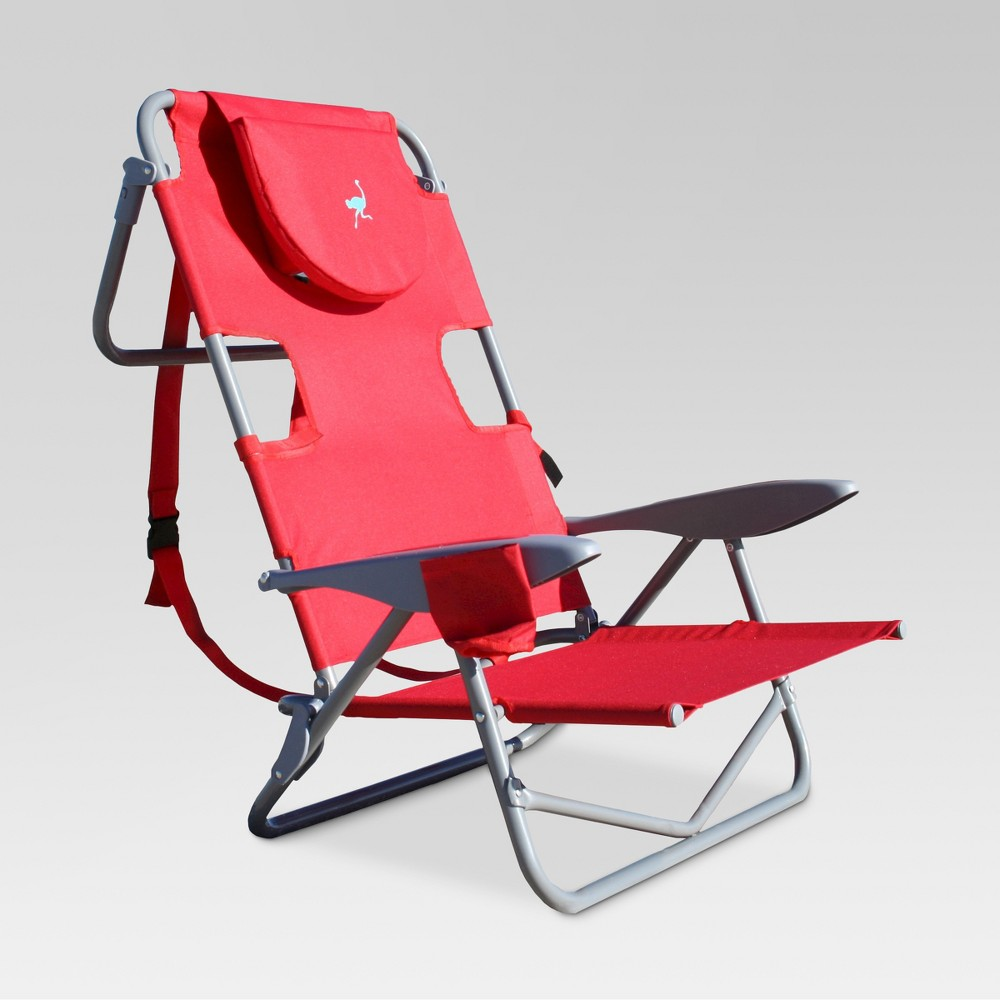 Image of Ostrich Face Down Backpack Beach Chair Red - Deltess