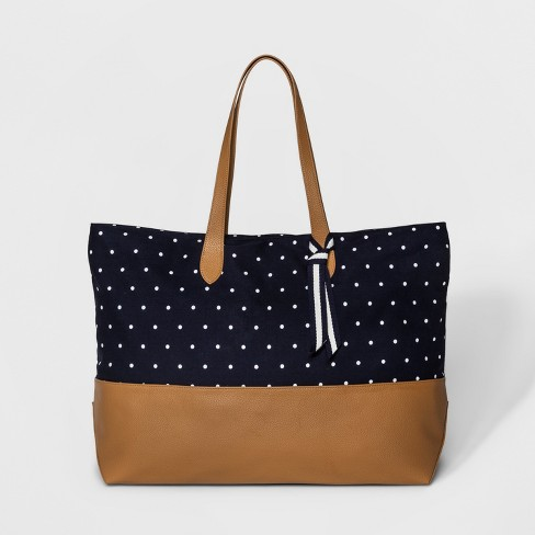 Canvas Striped Oversized Tote Handbag - A New Day™ - image 1 of 3