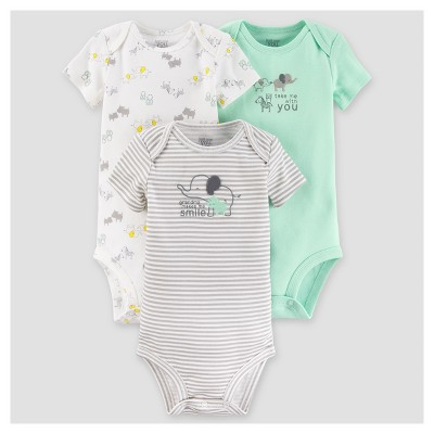 Baby Boys' 3pk Short Sleeve Elephants Bodysuit - Just One You™ Made by Carter's® Gray 12M