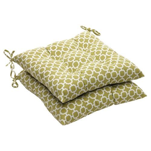 Outdoor 2-Piece Tufted Chair Cushion Set - Green/White Geometric