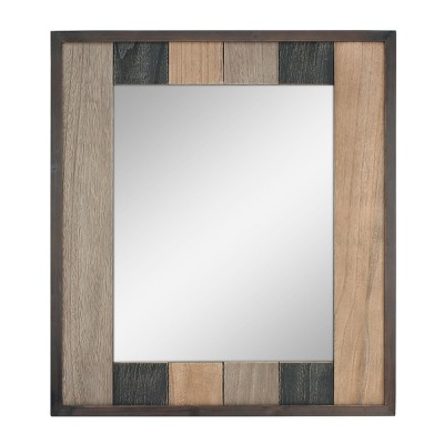Rectangle Natural Wood Plank Mirror Brown 26 x 24 - Stonebriar Collection