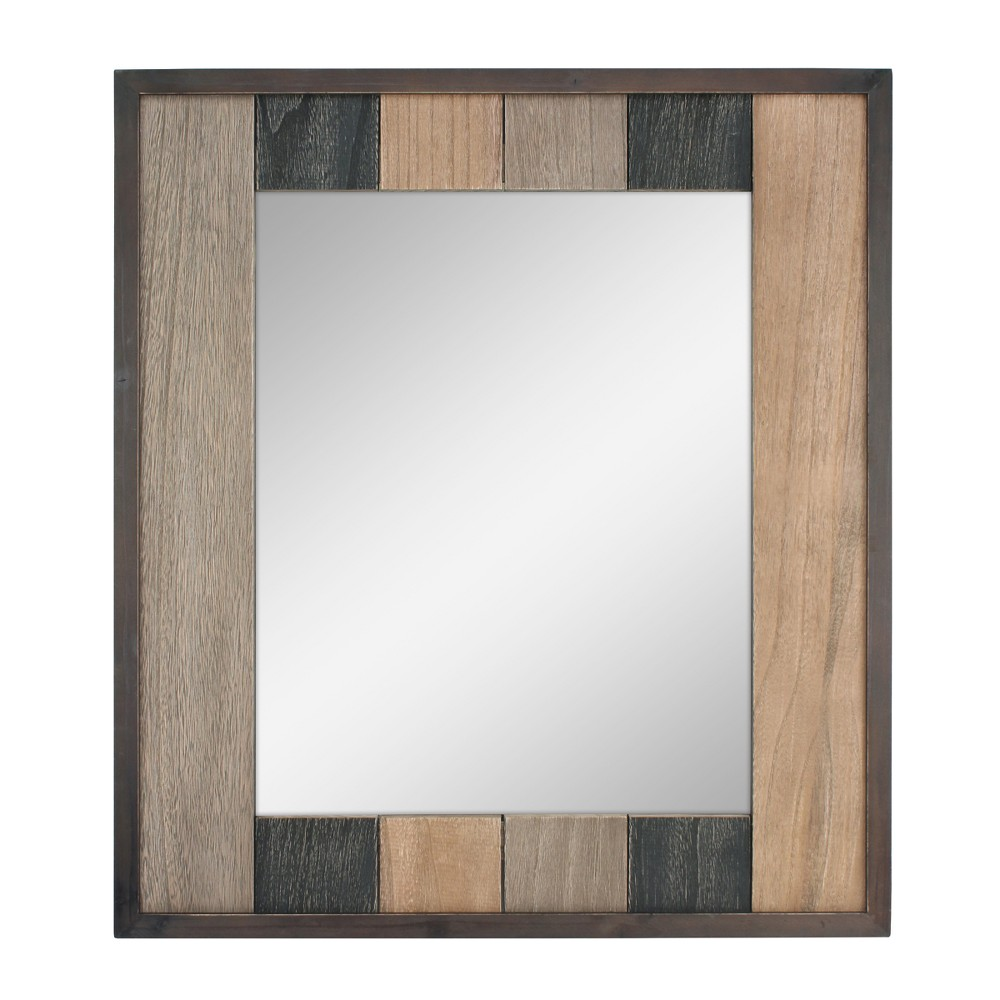 Image of Rectangle Natural Wood Plank Mirror Brown 26 x 24 - Stonebriar Collection