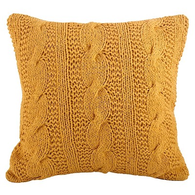 Saffron Cable Knit Design Throw Pillow (20 x20 )Saro Lifestyle