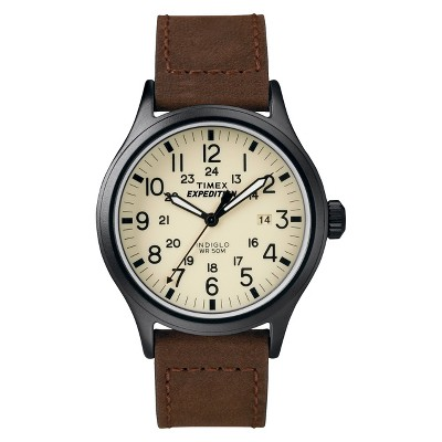 Men's Timex Expedition Scout Watch with Leather Strap - Black/Brown T49963JT