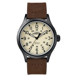 Men's Timex Expedition® Scout Watch with Leather Strap - Black/Brown T49963JT