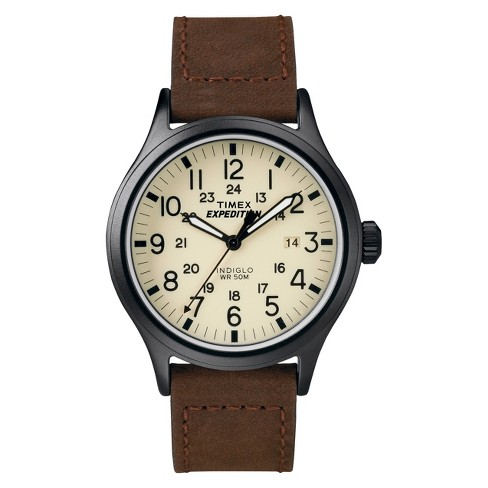 Men's Timex Expedition Scout Watch with Leather Strap - Black/Brown T49963JT - image 1 of 1