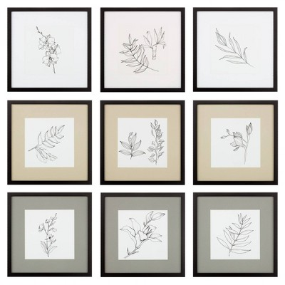 """8"""" x 8"""" 9pc Gallery Wall Frame Set with Decorative Art Prints and Hanging Template Natural - Gallery Solutions"""