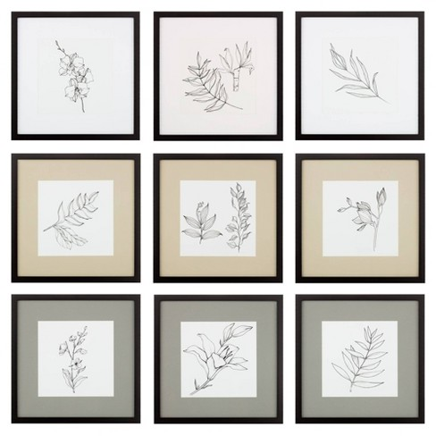 8 X 8 9pc Gallery Wall Frame Set With Decorative Art Prints And Hanging Template Natural Gallery Solutions Target