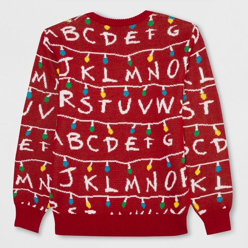 Mens Big Tall Stranger Things Light Up Ugly Holiday Sweatshirt
