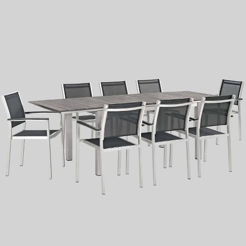 Shore 9pc Aluminum Patio Dining Set Black - Modway - image 1 of 3