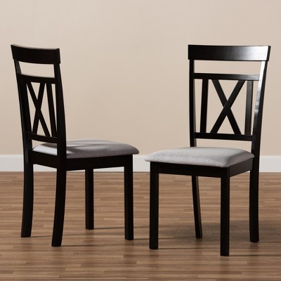 Set Of 2 Rosie Espresso Finished Dining Chair Gray/ Brown   Baxton Studio