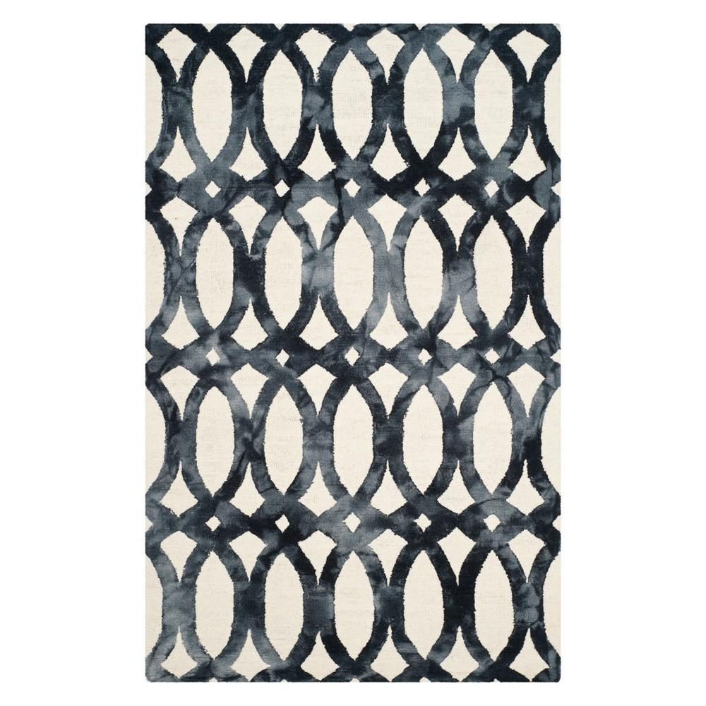 6'X9' Geometric Area Rug Ivory/Graphite (Ivory/Grey) - Safavieh