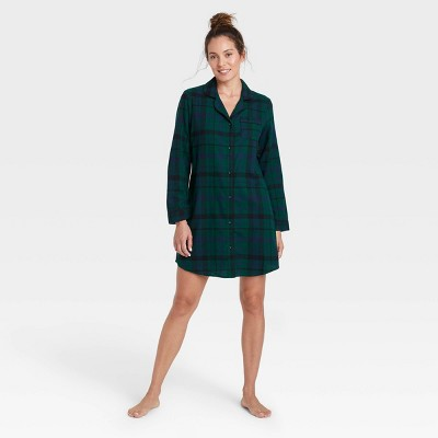 Women's Perfectly Cozy Plaid Flannel Nightgown - Stars Above™ Green