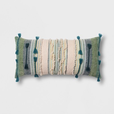 Teal Stripe Lumbar Throw Pillow - Opalhouse™