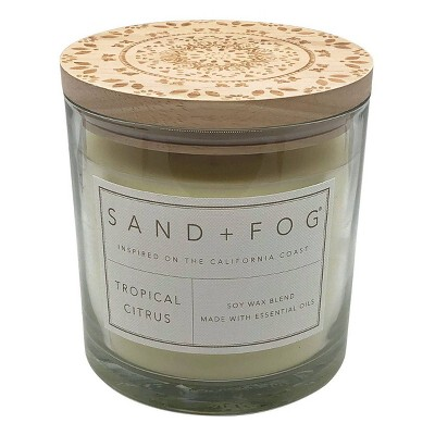 25oz Tropical Citrus Scented 3-Wick Candle - Sand + Fog
