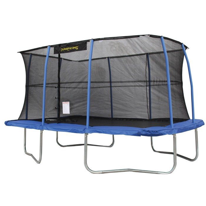 JumpKing 10 x 14 Foot Rectangular Trampoline with Safety Net Enclosure, Blue - image 1 of 6
