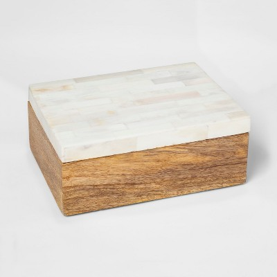 Wood and White Faux Bone Box - Threshold™