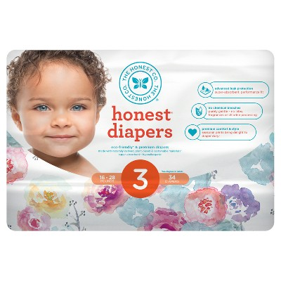 Honest Company Diapers, Rose Blossom - Size 3 (34ct)